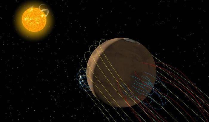 La 'coda' magnetica del pianeta rosso