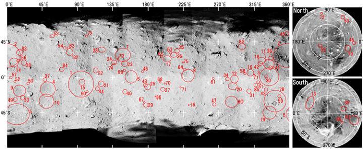 La mappa dei crateri da impatto di Ryugu