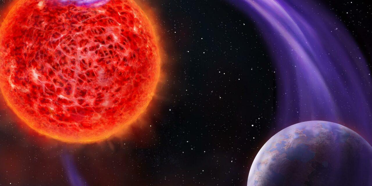 Le aurore extrasolari di una nana rossa