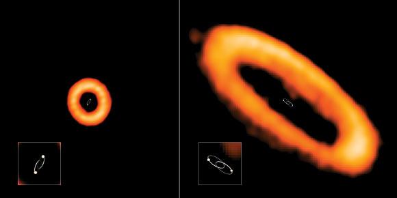 Esempi di dischi protoplanetari allineati e disallineati attorno a stelle binarie osservati con Alma. A sinistra il disco non è allineato, a destra il disco è in linea con l'orbita delle stelle (credit: ALMA (ESO / NAOJ / NRAO), I. Czekala e G. Kennedy; NRAO / AUI / NSF, S. Dagnello)