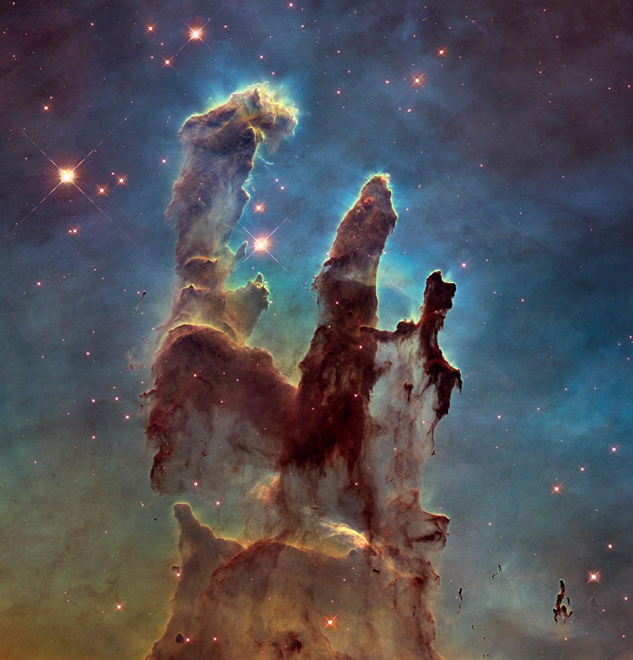 L'immagine più conosciuta de I Pilastri della Creazione è questa, realizzata in luce visibile